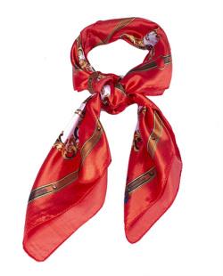 Lenço de cetim estampado vermelho Siker