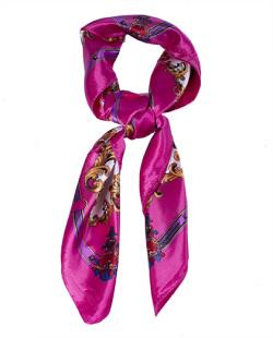 Lenço de cetim estampado rosa pink Siker