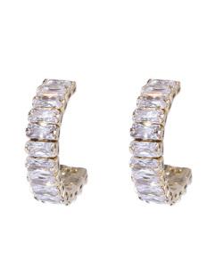 Argola dourada com pedra cristal April