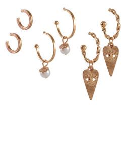 Kit 3 pares de brincos dourado com pérola Zilli