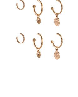 Kit 3 pares de brincos dourado com pedra cristal Anage