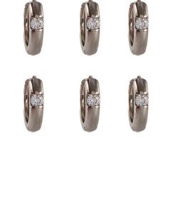 Kit 3 pares de brincos prateado com pedra cristal Photograph