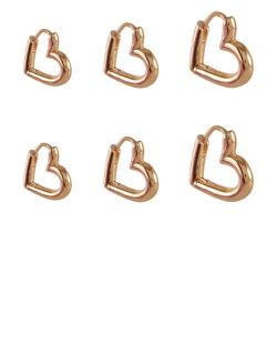 Kit 3 pares de brincos dourado Nikki