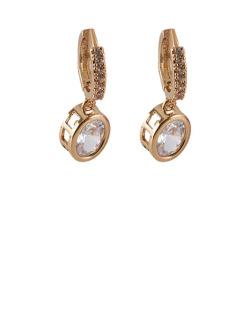 Argola dourada com pedra e strass cristal Lewis