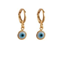Argola folheada dourada com olho grego Puka