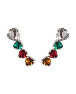 Ear cuff folheado prateado com pedras coloridas Jaque