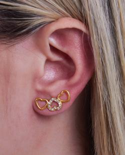 Ear cuff folheado dourado com strass cristal King