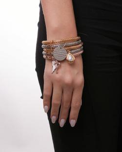 Kit 5 pulseiras prateada, dourada e rosé Seph