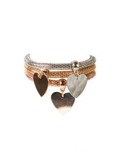 Kit 3 pulseiras prateada, dourada e rosé Pin