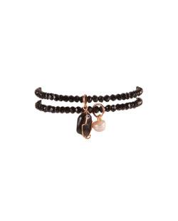 Kit 2 pulseiras pretas com pedra preta e pérola High