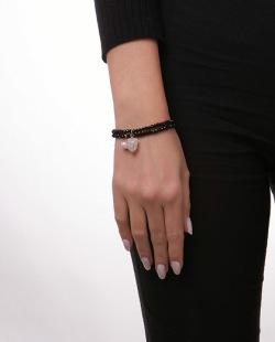 Kit 2 pulseiras pretas com pedra licor e pérola High