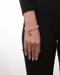 Kit 2 pulseiras rosé com pérola Mally