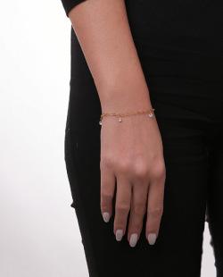 Pulseira dourada com pedra cristal Diva