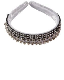 Tiara de tecido cinza com pedra cristal Phoebe
