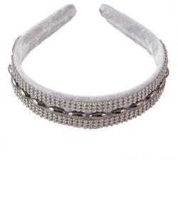 Tiara de tecido cinza com strass cristal Rach