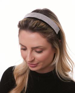 Tiara de tecido preta com strass cristal Ally