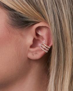 Piercing fake folheado dourado com strass cristal Awake