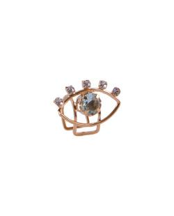 Piercing fake folheado dourado com pedra azul Poke