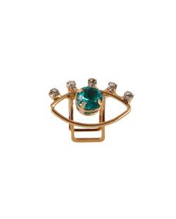 Piercing fake folheado dourado com pedra verde Keys