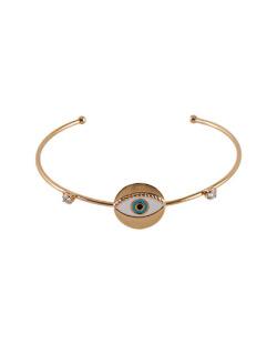 Bracelete folheado dourado com pedra cristal Bey