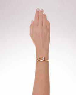 Bracelete folheado dourado com pedra cristal Layane