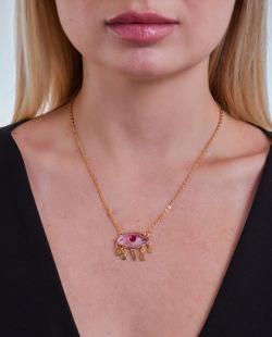 Colar folheado dourado com pedra lilás Fabi