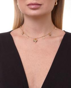 Gargantilha choker dourada com pedra cristal Divo