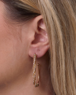 Argola dourada com strass cristal Erica