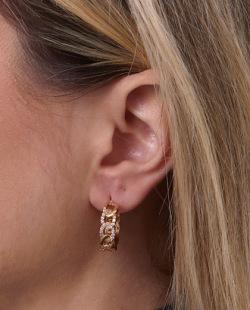 Argola dourada com strass cristal Chain