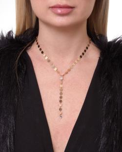 Colar dourado com pedra cristal Liliane