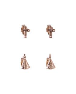 Kit 2 pares de brincos folheados dourado Kiki