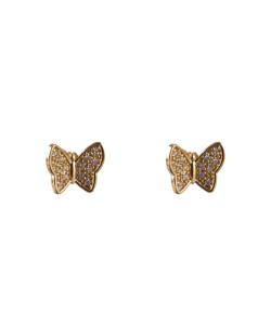 Brinco folheado dourado com strass cristal Angelina