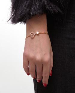Bracelete folheado dourado com strass cristal Bach