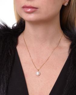 Kit brinco e colar folheado dourado com pedra e strass cristal Klarice