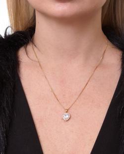 Kit brinco e colar folheado dourado com pedra e strass cristal Joice