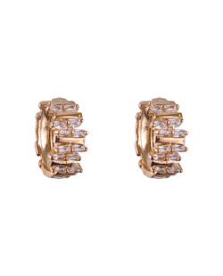 Argola folheada dourada com pedra cristal Louise