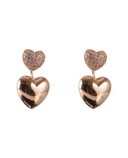 Brinco folheado dourado com strass cristal Heart