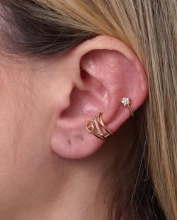 Kit 2 piercings fake dourado com strass cristal Elen