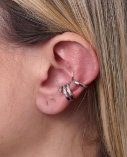 Kit 2 piercings fake prateado com strass cristal Fani