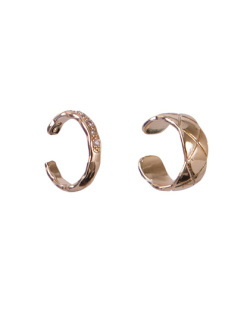 Kit 2 piercings fake dourado com strass cristal Geni