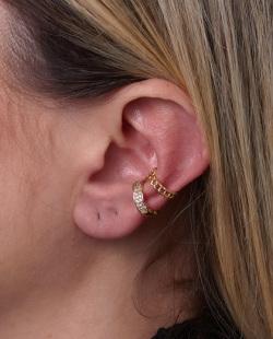 Kit 2 piercings fake dourado com strass cristal Lilly