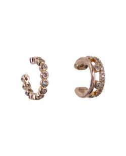Kit 2 piercings fake dourado com strass cristal Many