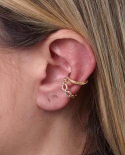 Kit 2 piercings fake dourado com strass cristal Little