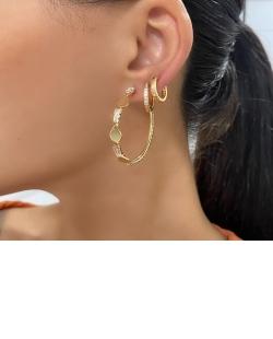 Argola dourada com strass cristal Liss