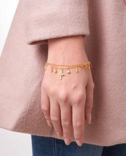 Pulseira dourada com pedra cristal Aisha