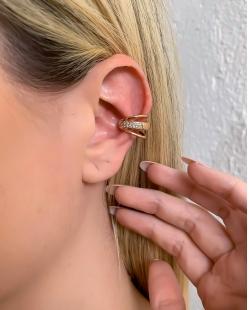 Piercing fake dourado com strass cristal Belgium