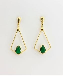 Brinco folheado dourado com pedra verde Zion