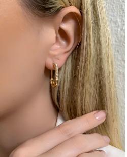 Argola dourada com strass cristal Lizzie
