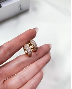Argola dourada com strass cristal Izzie