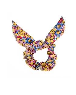 Scrunchie colorida daisy e smiley